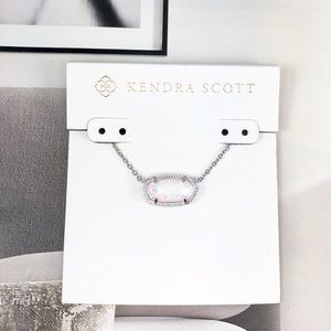 Kendra Scott Elisa opal white silver necklace